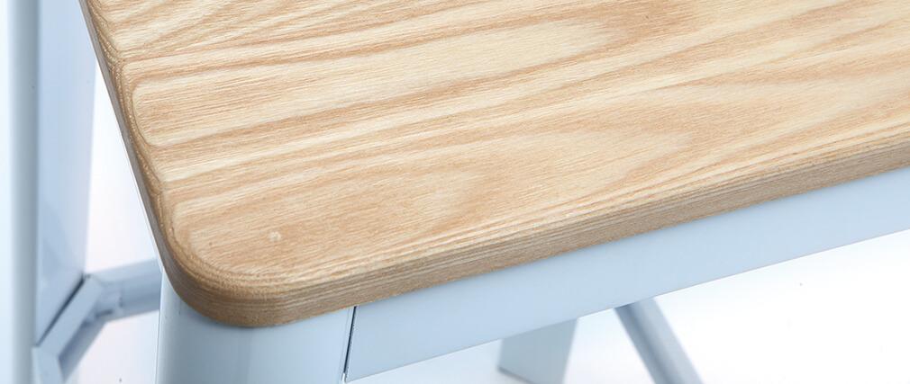 Tabouret de bar design blanc et bois H75 cm NICK