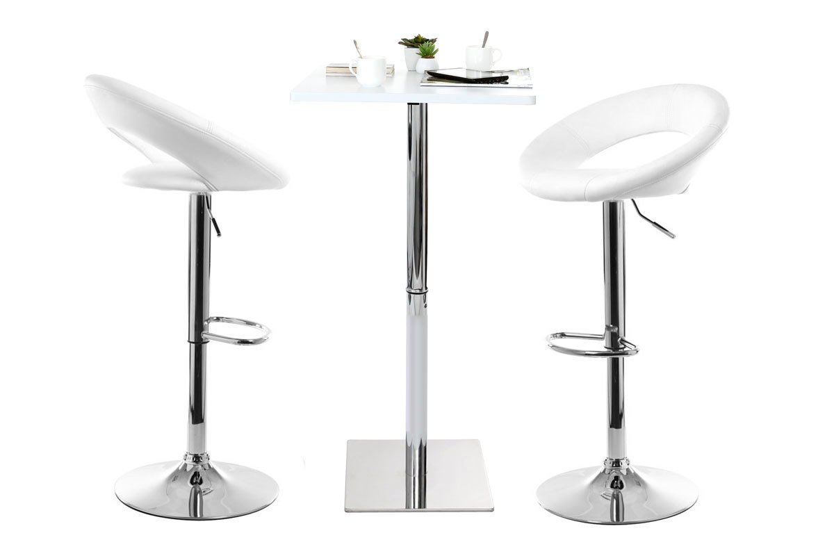 Tabouret de bar design blanc NEWTON - Miliboo