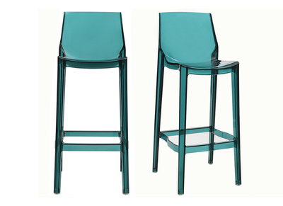 Tabouret de bar design bleu transparent lot de 2 YLAK