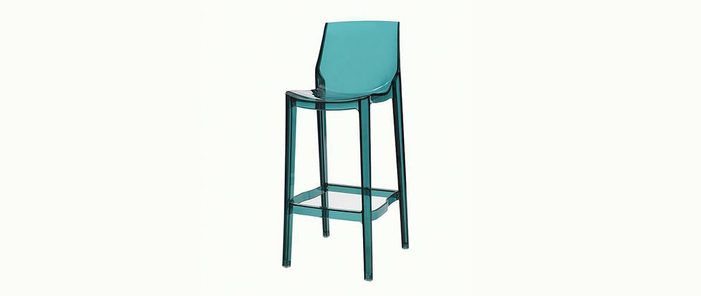 Tabouret de bar design bleu transparent lot de 4 ylak miliboo - Lot 4 tabouret de bar ...