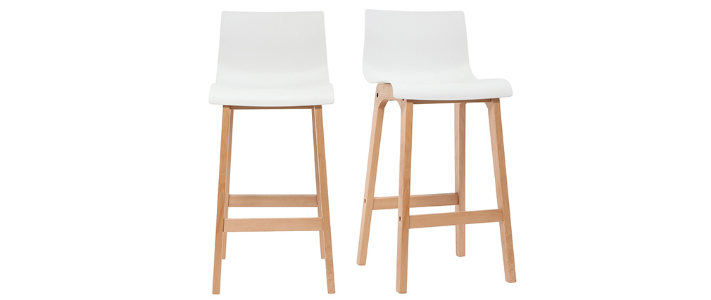 Tabouret de bar design bois et blanc 75 cm (lot de 2) NEW SURF