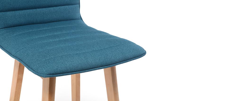 Tabouret de bar design bois et bleu canard 65 cm (lot de 2) EMMA
