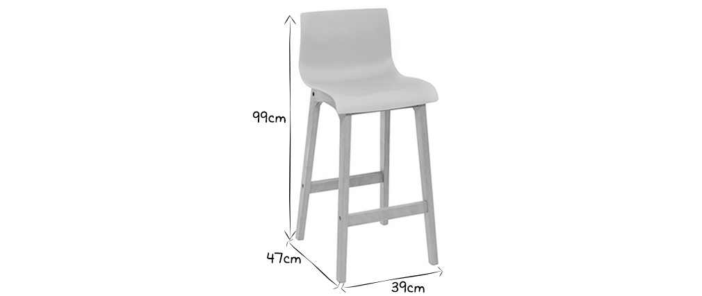 Tabouret de bar design bois et gris clair 75 cm (lot de 2) NEW SURF