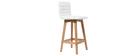 Tabouret de bar design bois et PU blanc 65 cm (lot de 2) EMMA