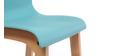 Tabouret de bar design bois et turquoise 75 cm (lot de 2) NEW SURF