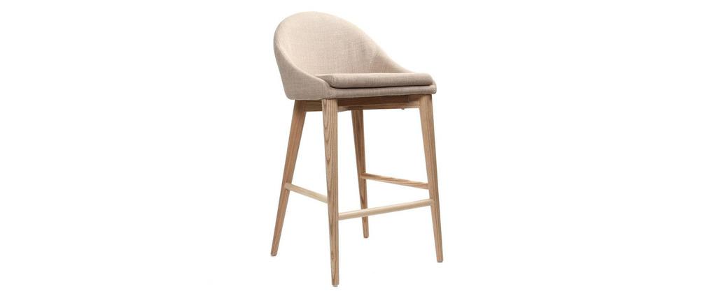 tabouret de bar design bois polyester beige dalia miliboo. Black Bedroom Furniture Sets. Home Design Ideas