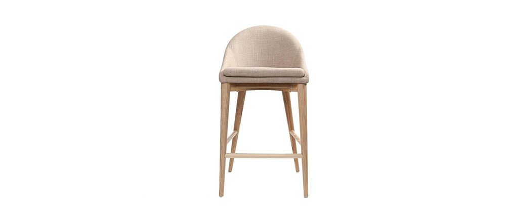 tabouret de bar design bois polyester beige dalia miliboo. Black Bedroom Furniture Sets. Home Design Ideas