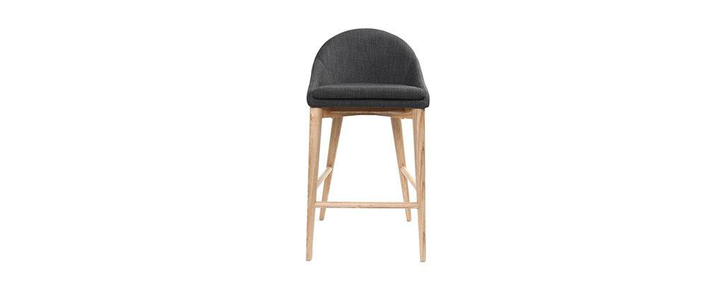 tabouret de bar design bois polyester gris anthracite. Black Bedroom Furniture Sets. Home Design Ideas