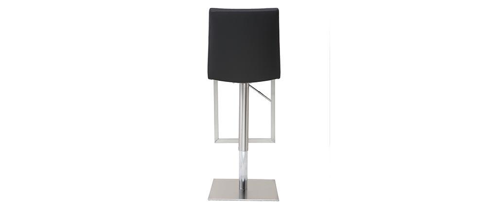 Tabouret de bar design contemporain - métal et PU noir - KYLE