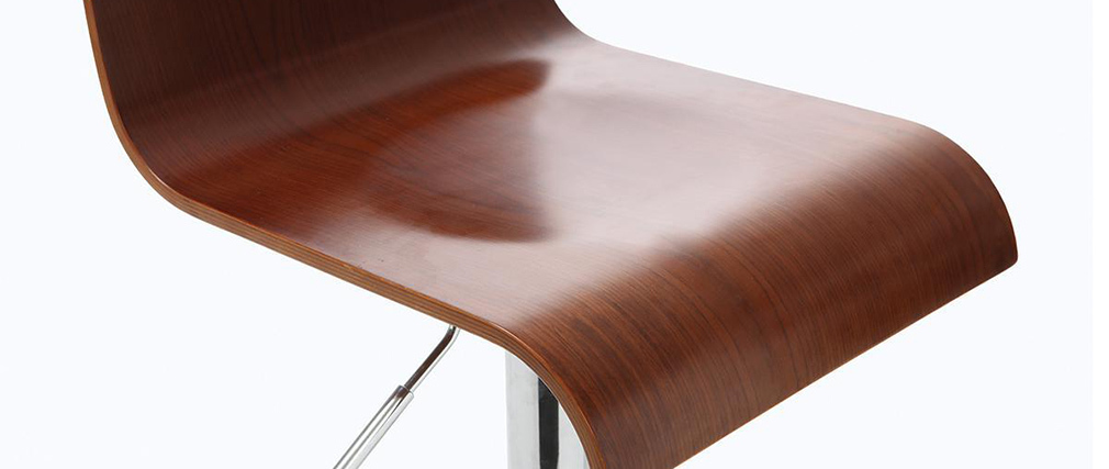 Tabouret de bar design en bois coloris noyer SURF V2