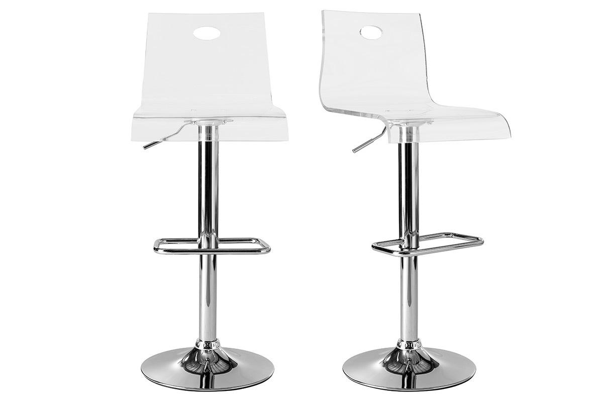 Tabouret De Bar Plexi.Tabouret De Bar Design En Plexiglas Transparent Lot De 2