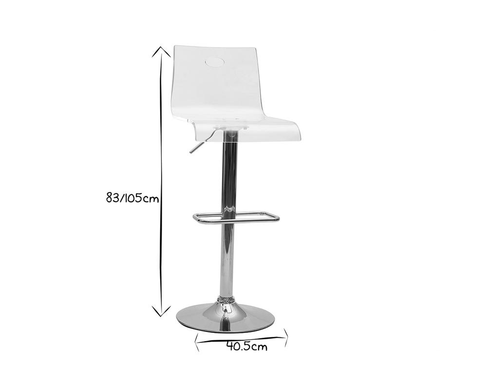 Tabouret De Bar Design En Plexiglas Transparent Lot De 2