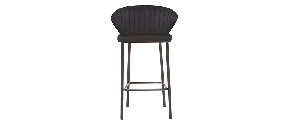 Tabouret de bar design en velours noir 65 cm DALLY