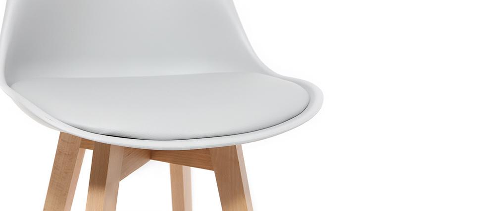 Tabouret de bar design gris clair et bois 65cm (lot de 2) PAULINE