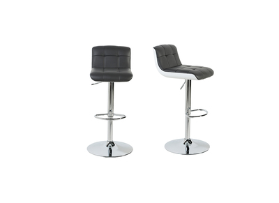 Tabouret de bar design gris  et blanc lot de 2 ASTRY