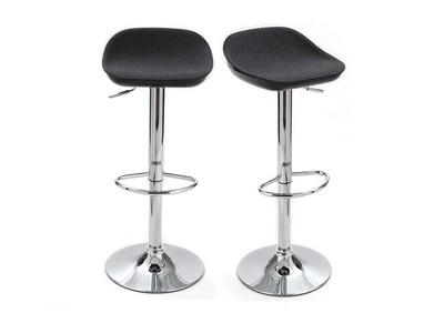 Tabouret de bar design gris et noir lot de 2 POMY