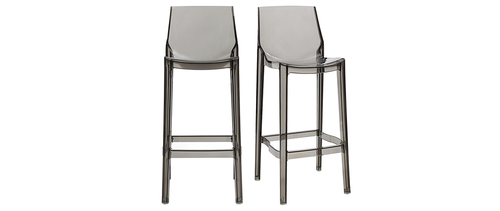 Tabouret de bar design gris fumé lot de 2 YLAK