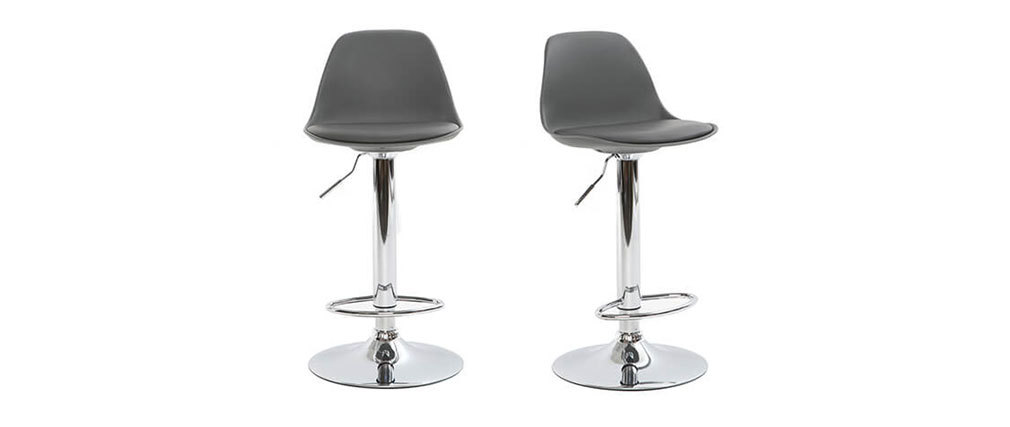 Tabouret de bar design gris lot de 2 STEEVY