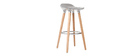 Tabouret de bar design gris scandinave lot de 2  GILDA