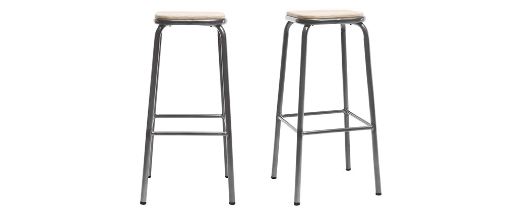 Tabouret de bar design inox bois clair H75 cm (lot de 2) MEMPHIS