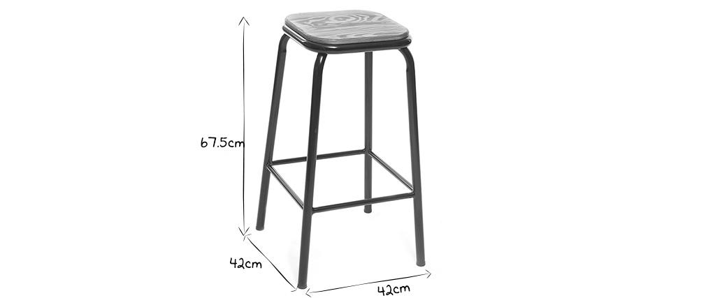 Tabouret de bar design inox et bois clair H65 cm (lot de 2) MEMPHIS