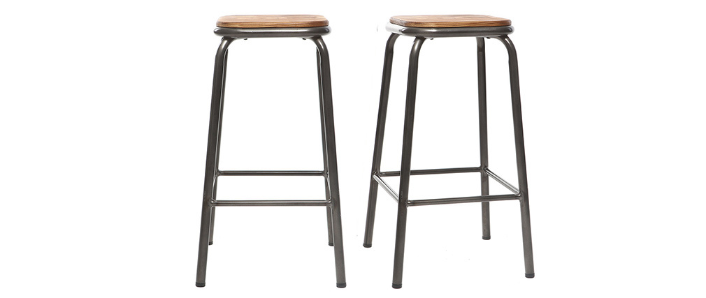 Tabouret de bar design inox et bois foncé H65 cm (lot de 2) MEMPHIS