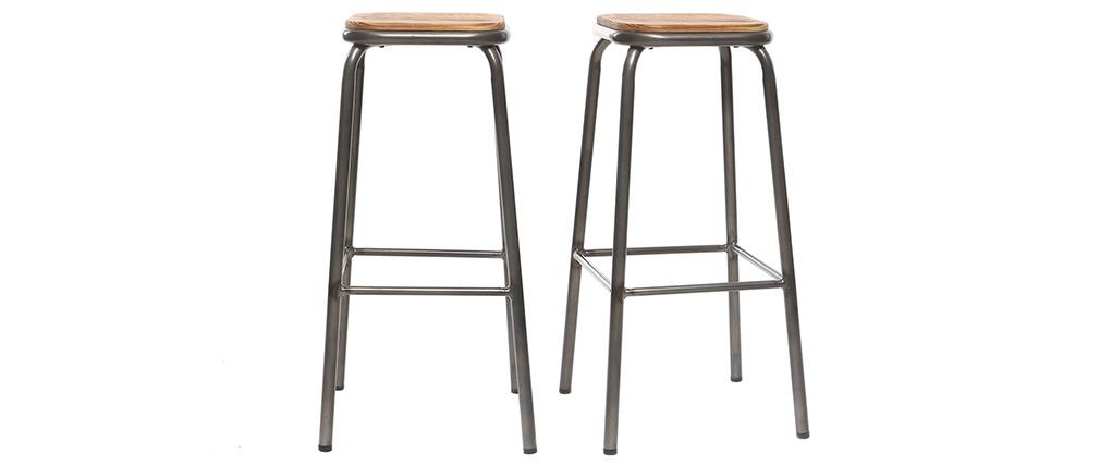 Tabouret de bar design inox et bois foncé H75 cm (lot de 2) MEMPHIS