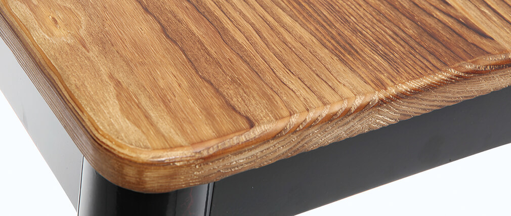 Tabouret de bar design noir et bois 75 cm NICK