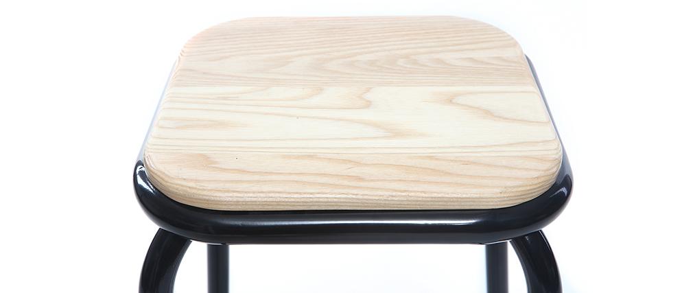 Tabouret de bar design noir et bois clair H65 cm (lot de 2) MEMPHIS