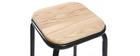 Tabouret de bar design noir et bois clair H75 cm (lot de 2) MEMPHIS