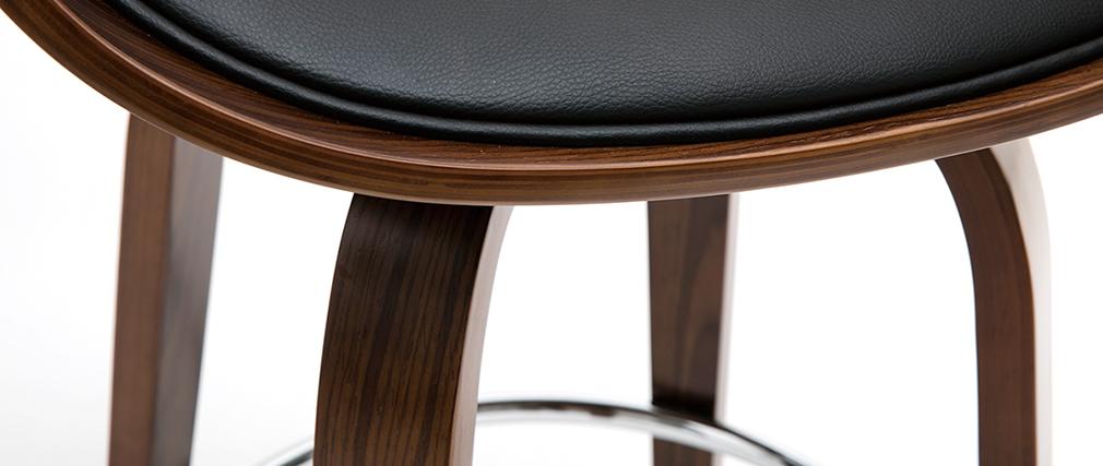 Tabouret de bar design noir et bois foncé 65 cm BENT