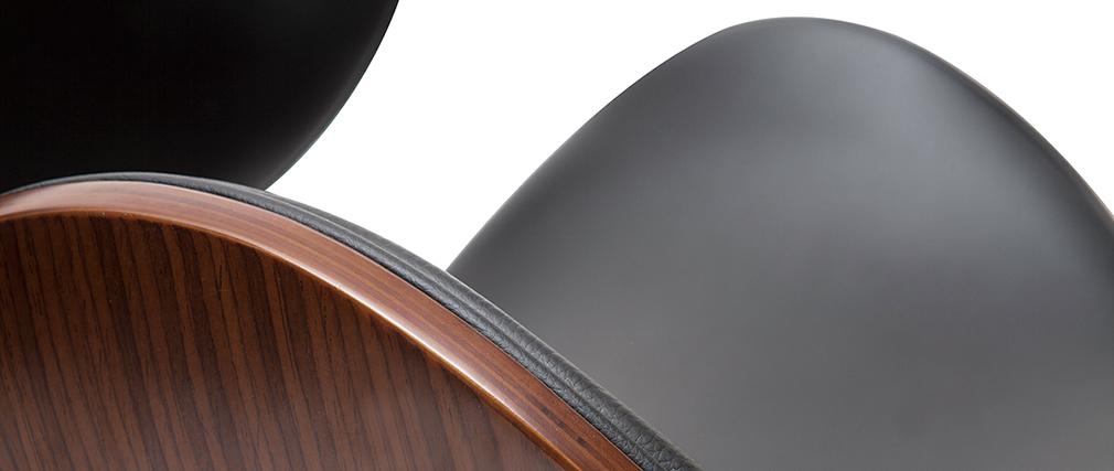 Tabouret de bar design noir et bois foncé 65 cm WALNUT
