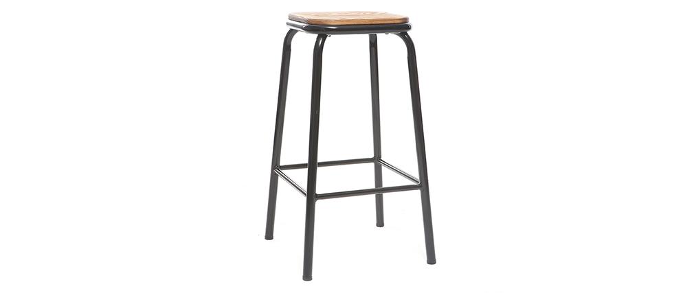 Tabouret de bar design noir et bois foncé H65 cm (lot de 2) MEMPHIS