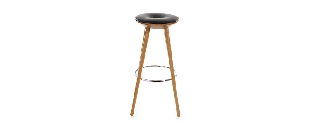 Tabouret de bar design noir et bois NORDECO