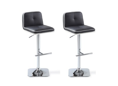 Tabouret de bar design noir Lot de 2 HESIODE