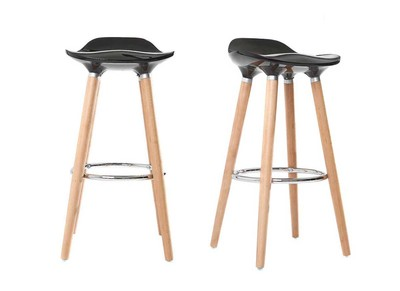 Tabouret de bar design noir scandinave lot de 2 GILDA