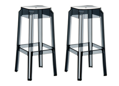 Tabouret de bar design noir transparent 65cm lot de 2 CLEAR