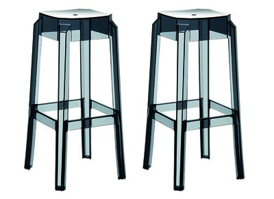 Tabouret de bar design noir transparent 75cm lot de 2 CLEAR