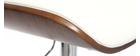 Tabouret de bar design polyuréthane blanc et bois foncé MARTY