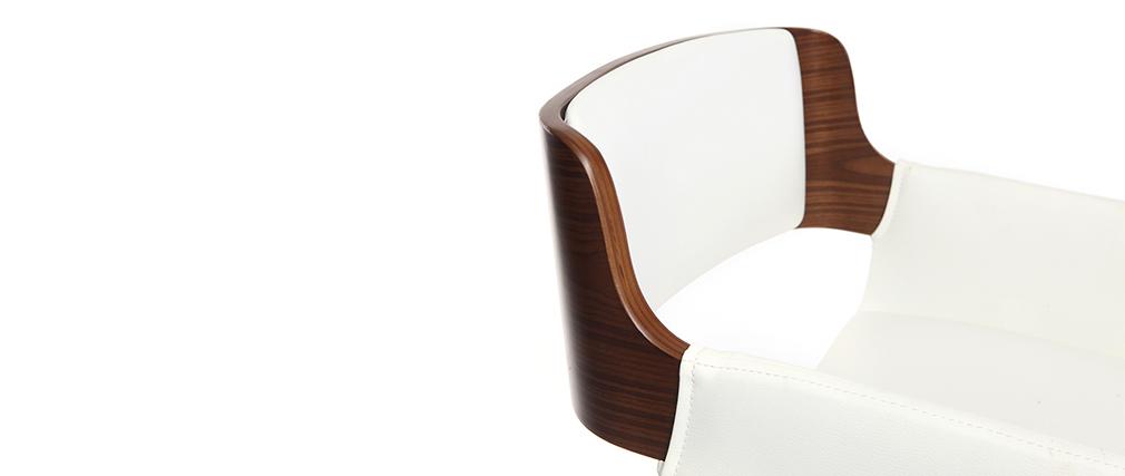 Tabouret de bar design polyuréthane blanc et bois foncé RAY