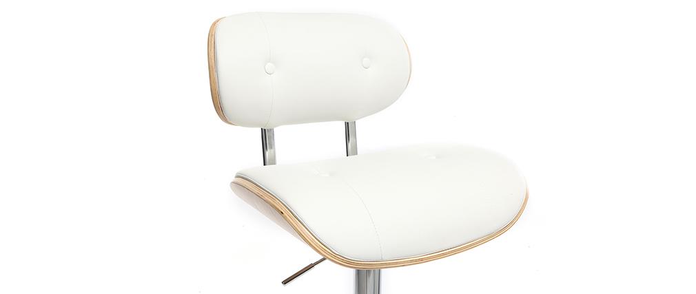 Tabouret de bar design poyluréthane blanc et bois clair MARTY