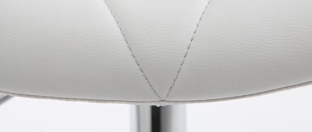 Tabouret de bar design PU blanc lot de 2 DEREK