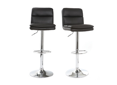 Tabouret de bar design PU noir lot de 2 CLARK