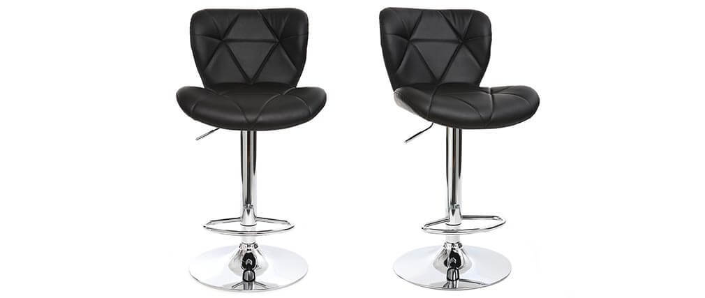 Tabouret de bar design PU noir lot de 2 DEREK