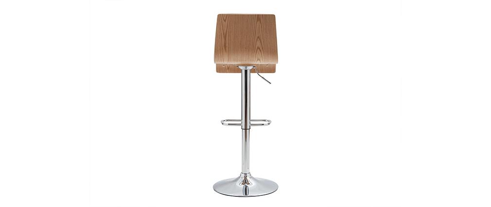 Tabouret de bar design réglable blanc et bois clair (lot de 2) DELICACY