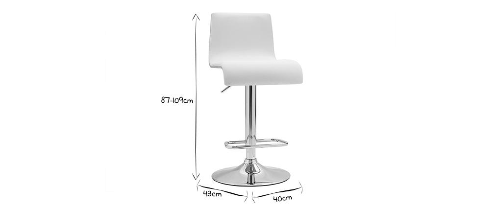 Tabouret de bar design réglable blanc et bois clair DELICACY