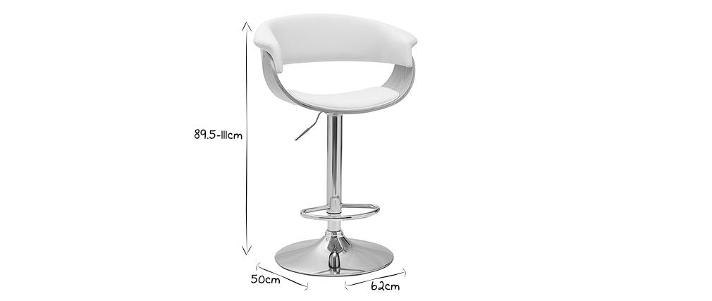 Tabouret de bar design réglable blanc et bois clair OKTAV
