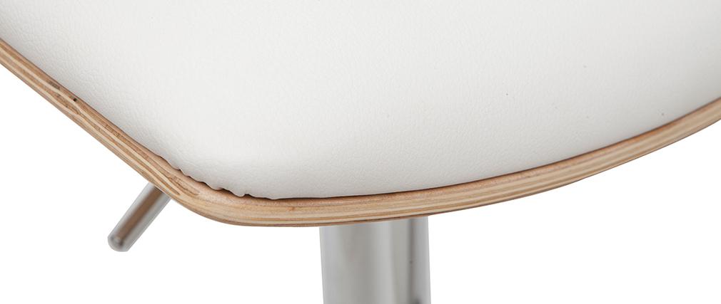 Tabouret de bar design réglable blanc et bois clair PANACH