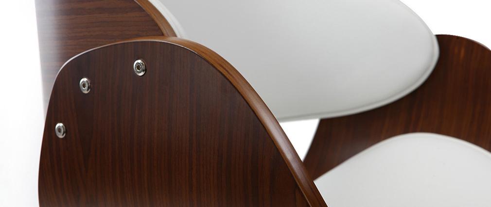 Tabouret de bar design réglable blanc et bois foncé BENT