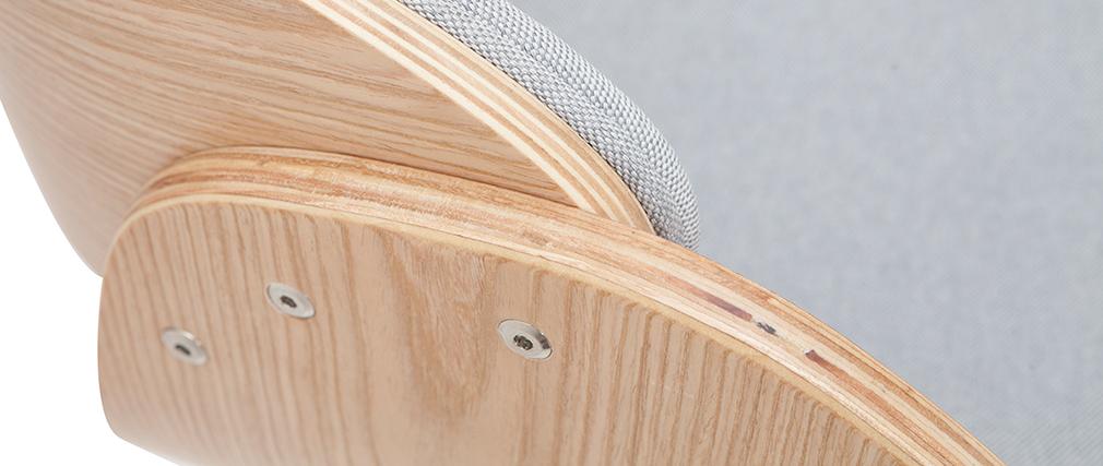 Tabouret de bar design réglable en tissu gris et bois clair BENT